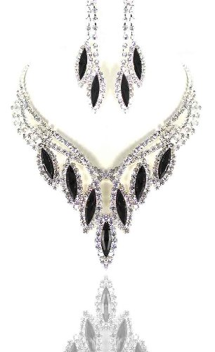 Bridal Wedding Black & Clear Crystals necklace earrings set