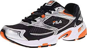 Fila Men's DLS Swerve Running Shoe, Castlerock/Metallic Silver/Vibrant Orange, 7 M US