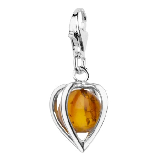 In Collections Heart 0020200320890 Silver Amber Charm