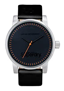 Superdry Gents Black Dial Black Leather Strap Watch