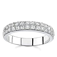 18k White Gold Two-Row Diamond Band (G/VS2, 1/2 ct. tw.)