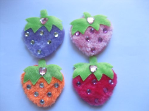 40pc Assorted Strawberries Fabric Padded Appliques ps3