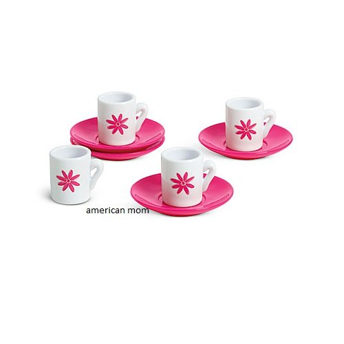 American Girl Place Cafe Boutique Doll-Sized Cups & Saucers Tea Party Set Pink