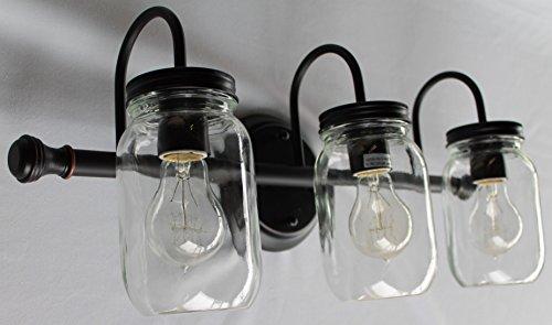 Mason Jar Lighting, 3 light dark bronze vanity light with clear mason jar glass (Mason Jar Bathroom Lighting compare prices)