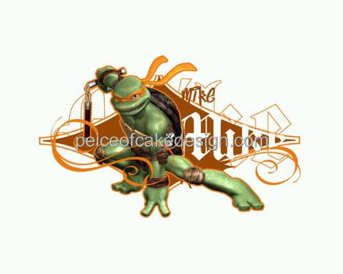 1/4 Sheet ~ TMNT Michaelangelo Solo Stance Birthday ~ Edible Image Cake/Cupcake Topper!!!