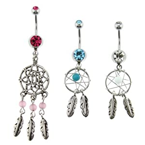 316L Surgical Steel Dream Catcher Net Belly Rings with Clear, Pink, and Aqua Crystals and Beads - 14G (1.6mm), 3/8'' Bar Length - Sold as a Set of 3 from Toltec Trading Company