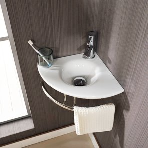 Spectacular Clickbasin cm X cm Corner White Glass Wall Hung Brescia Sink With Stanless Mount And Tap