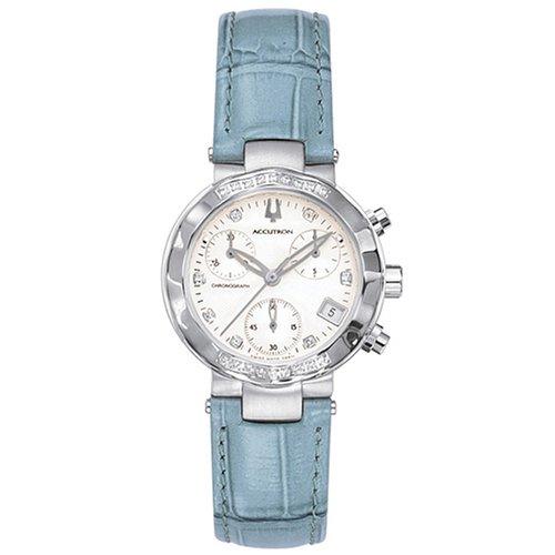 Price Comparisons Accutron Women's 26R11 Chamonix Diamond Chronograph Blue Leather Watch