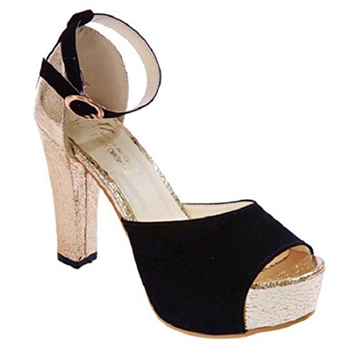 jeansian Moda Donna Sexy Peep Toe Stiletti Scarpe col Tacco Sandali Heels Shoes Sandals WSB002 Black 38