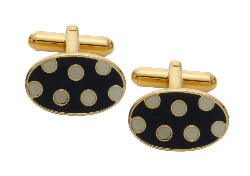 Code Red Gold Plated Cufflinks with Black Enamel and White Enamel Spots