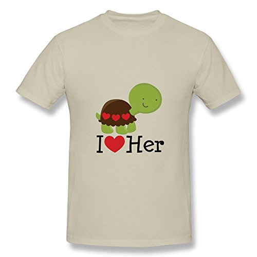 Cpy Men'S Love Her Turtle Dating Gift Cotton T Shirt Tee Natural L