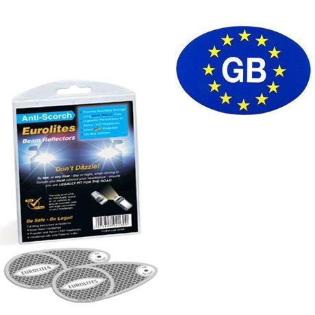 Anti-Scorch Headlight Adaptors & GB Euro Sticker
