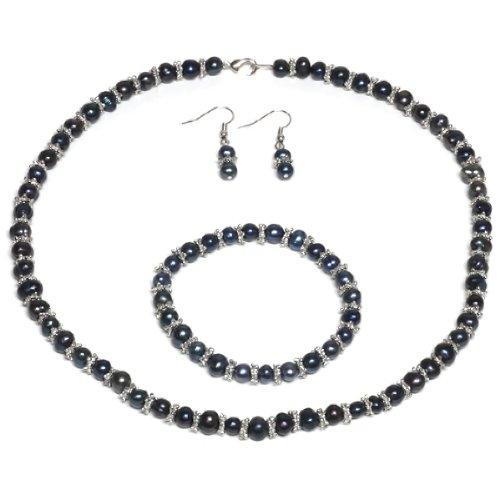 Black Freshwater Genuine Pearl Necklace Bracelet Earrings Set 18