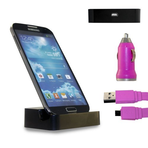 Shelfone 3 In 1 Bundle Premium High Quality Black Charging Dock Desktop Stand Docking Station Includes Coloured Includes Flat Micro Usb Data Cable & Universal Bullet Car Charger For Various Samsung Mobile Series Samsung Galaxy S4 Mini I9190 Pink