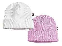 Baby Beanie Cap Hat Skull Cap Newborn Infant - Thermal White/Pink - 0/3 m