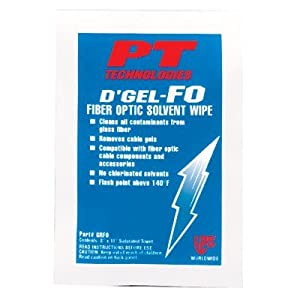D'Gel®-FO Fiber Optic Solvent Wipes - d'gel fo cable cleaner144 wipes per cs [Set of 144] from PT Technologies