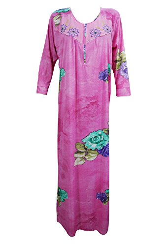 Fashionable Caftan Pink Neck Embroidery Cotton Muumuu House Dress L..