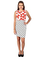 Vteens Red & Off White Multi-Print Short Dress (Large)