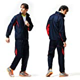 Fuerza Mens Track Jacket Pants Woven Tracksuit (With Hood) in Navy/Red