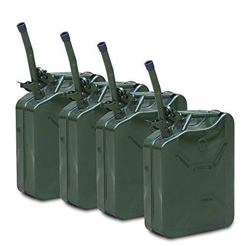 Super Deal 4pcs 20L 5Gallon NATO Style Green Jerry Can Oil Fuel Gas Steel Tank w/ Free Spout , Pack of 4(#3) (Jerry Cans compare prices)