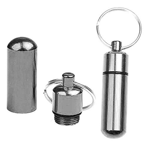 Dell'anello chiave di Keychain Segreto Cash Money Stash della scatola della pillola Medicina Capsule Bottle Holder ARGENTO