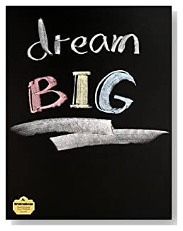 Dream BIG Notebook - Great gift idea for anyone who wants or needs encouragement to pursue their dreams. The text Dream BIG written in colored chalk makes a bold statement on the cover of this blank and wide ruled notebook with blank pages on the left and lined pages on the right.
