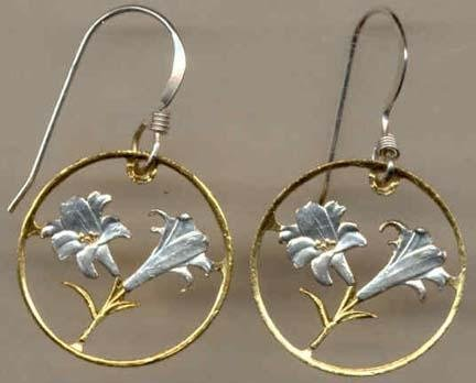 Bermuda 10 Cent ÒLilyÓ Two Toned Coin Cut Out Earrings