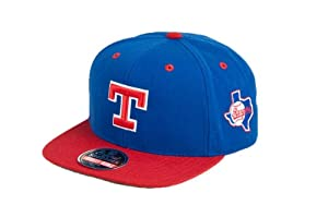 MLB Mens Texas Rangers Blockhead Snapback Cap (Royal Red, Adjustable) by Wright & Ditson