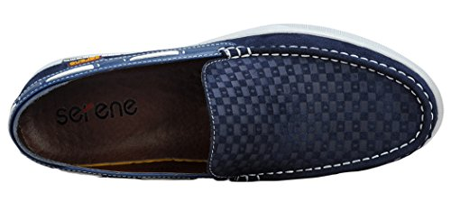 Serene Mens Fashion Moccasin Slip On Suede Flat Loafers(10.5 D(M)US, Navy)