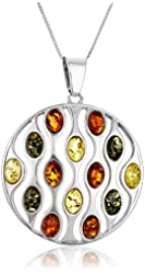 """Sterling silver Multi-Color Amber Circle with Chain Pendant Necklace, 18"""""""