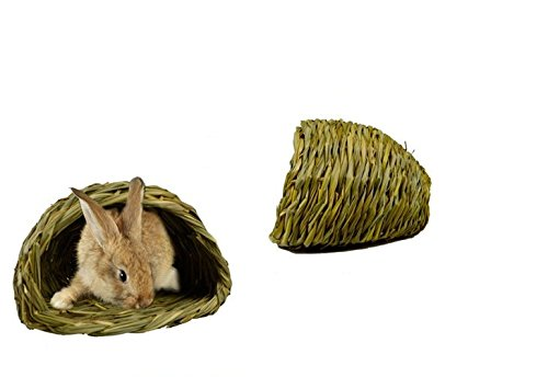 AUCH-Woven-Grass-Hideaway-Hut-House-Pet-Bedding-for-Rabbits-Guinea-Pigs-and-Small-Animals-82-x-51-x-75-Inch