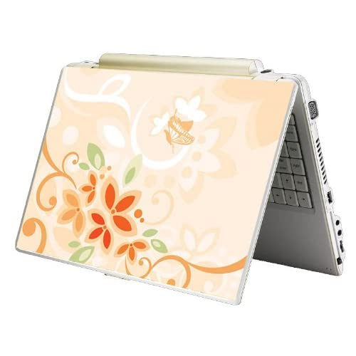 Bundle Monster MINI NETBOOK Laptop Notebook Skin Sticker Cover Art Decal   7 8 9 10   Fit HP Dell Asus Acer Eee Compaq MSI   Orange Floral