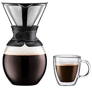 Bodum Pour Over Coffee Maker with 4-pc Double Wall Glass Set: Amazon.com: Grocery & Gourmet Food