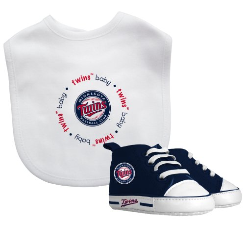 Mlb Baseball Team Infant Baby Gift Set - Bib & Pre-Walker High Top Shoe Set - Pick Team! (Minnesota Twins) front-975917