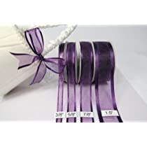 Plum Organza Ribbon With Satin Edge-25 Yards X 5/8 Inches