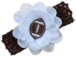 Baby Embroidered Felt Football Flower Headband (Brown)