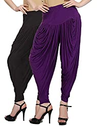 Fashion And Freedom Women's Pack Of 2 Black And Purple Viscose Dhoti