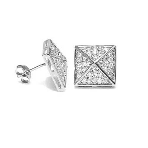 Bling Jewelry Sterling Silver Mens Pyramid Micro Pave Spike Stud Earrings 11mm