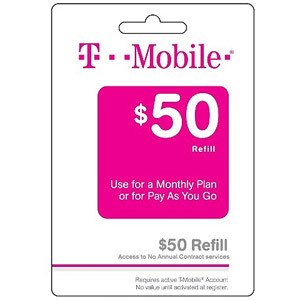 T-mobile $50 Prepaid Refill Card Monthly Plan / Pay As You Go No Annual Contract Email Shipping