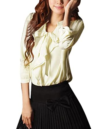 Allegra K Lady Self Tie String Front Long Sleeve Semi Sheer Blouse