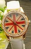 ゴージャス主義!!腕時計 ウォッチ イギリス 国旗 ユニオンジャック クロコ 調 ラインストーン 黒 白 赤 茶 ピンク 5色 展開 (ホワイト 白)