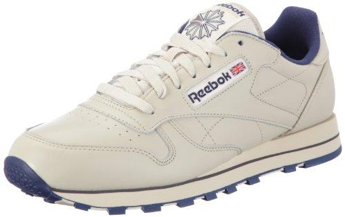 Reebok CL LTHR 28412 - Sneaker classiche uomo, Bianco (ECRU/NAVY), 42.5
