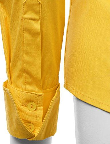 Doublju women contemporary long sleeve regular fit spandex for Womens yellow long sleeve shirt