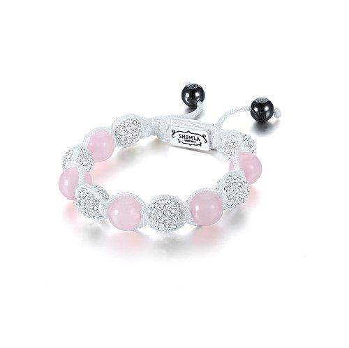 Shimla SH 023S Silver Plated White Czech Crystal Beads Bracelet of Length 5.5cm-10.5cm