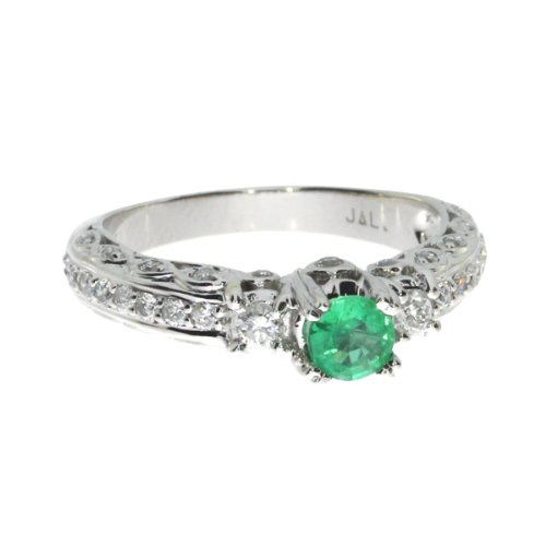 0.96 Carat Ctw 14K Gold Round Green Emerald Solitaire & Diamond Accent Antique Promise Engagement Ring - White-Gold, Size 11
