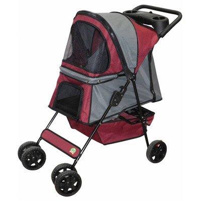 Go Pet Club Pet Stroller, Maroon/Silver