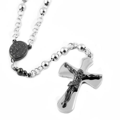 Stainless Steel Rosary Bead Necklace with Black PVD Image 0n Steel Cross