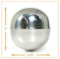 Stainless Steel Bath Bomb Mold - Extra-large Size (2 pieces), Lush Size, 2.75 Diameter, 7.5 oz Capacity, Make Professional Bath Bombs. U.S. Seller!