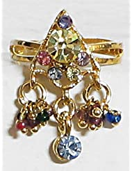 Pyramid - Multicolor Stone Studded Adjustable Ring - Stone And Metal