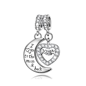 NinaQueen® **Mom I Love You to the moon&back**925 Sterling Silver Cubic Zirconia Dangle Heart Charms Fits Pandora Bracelets *Ideal Gift for wife, girlfriend, families and friends on Birthday, Anniversary, Thanksgiving Day and Christmas Day*